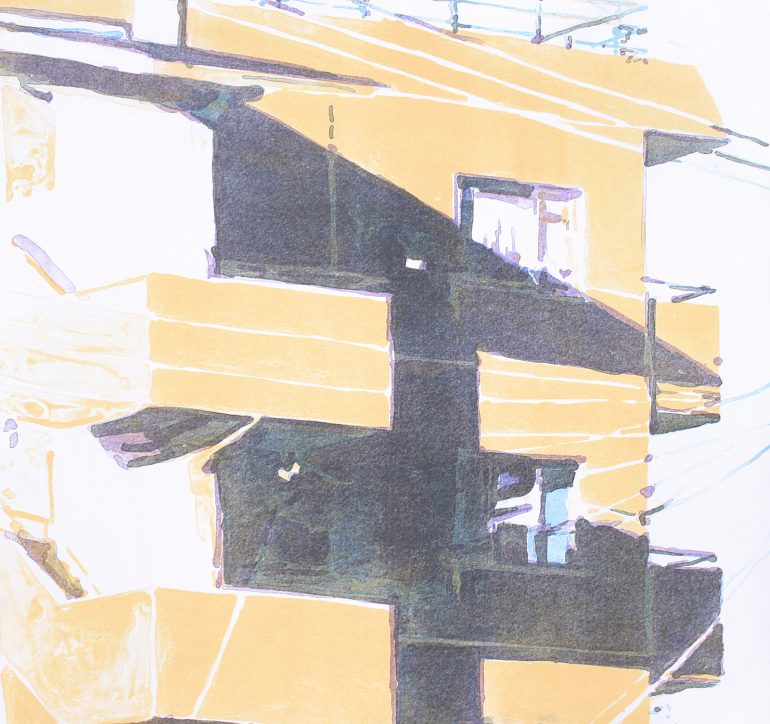オレンジの壁に三角の影